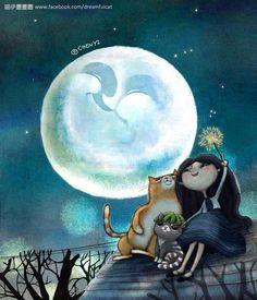 whimsical moon ~ art by Chen-Yi Lin Illustrations, Art And Illustration, Mary Moon, Image Chat, Good Night Moon, Sun And Stars, Moon Magic, Beautiful Moon, Moon Art