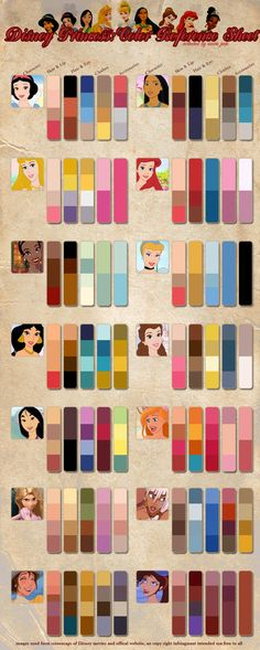 Princess Color Reference by *Jadeit3 on deviantART