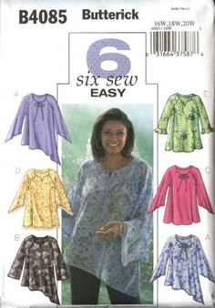 Butterick Sewing Pattern 4085 Womens Plus Size Easy Pullover Blouse Tunic Top plus sized tunic patterns Tunic Sewing Patterns, Plus Size Sewing Patterns, Sewing Blouses, Tunic Pattern, Clothing Patterns, Plus Sise, Diy Kleidung, Diy Mode, Make Your Own Clothes
