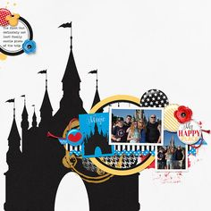 My Happy Place Disneyworld digital scrapbook page by Annette Pixley using It's All About the Mouse by Melissa Bennett Designs.