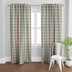 BAY WIDE MADE TO ORDER LAURA ASHLEY DUCK EGG LINEN TARTAN CHECK LINED CURTAINS