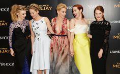 Natalie Dormer, Jennifer Lawrence, Elizabeth Banks, Jena Malone and Julianne Moore attend the World Premiere of 'The Hunger Games: Mockingjay Part 1' in London, England. via @stylelist | http://aol.it/1tWu8uF