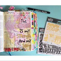 """""""The Lord is my strength and my song."""" -Exodus 15:2 💛 I'm spending my Sunday afternoon finishing up the book of Exodus, doing a little bit of journaling and catching up on the rest of the reading with @asetofbibles and #biblesisterhood to #journaltheyear17 What are you spending time on today? #illustratedfaith #biblejournaling #biblejournalingcommunity #faithjournaling #faithart #dayspring #bellablvd #if_youarelovedcollection #homespun #tpskit #theplannersociety #plannersociety #pinkpaislee"""