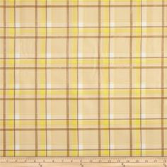 Oilcloth Scottish Plaid Yellow from @fabricdotcom  Oilcloth is vinyl on a cotton mesh base. It's great fabric for protecting surfaces, creating fun settings and crafts. This bonded vinyl is durable and very versatile. Create placemats, tablecloths, baby bibs, floor coverings under high chairs for easy clean up and shelf lining. Don't forget oilcloth for your picnics! No need to hem just cut your shape, that's all! Ideal for young sewers, very easy to handle, they can create easy projects ...