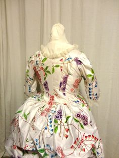 My personal re-creation of a MMA 1780s painted gown and petticoat. All 12 yards of white silk,  handpainted; and the gown and petticoat completely handsewn; added ruffled frills to finish the necka dn sleeves are silk organza and antique lace edging.
