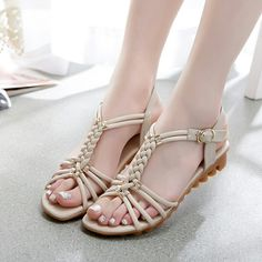 2015 summer new leather sandals shoes leather shoes sandals fema Girls Sandals, Girls Shoes, Shoes Sandals, Pretty Sandals, Fashion Sandals, Womens Shoes Wedges, Cute Shoes, Leather Sandals, Shoe Boots