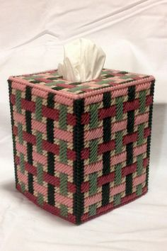 Woven Ribons Tissue Box Cover in Plastic Canvas by KatsCraftKorner