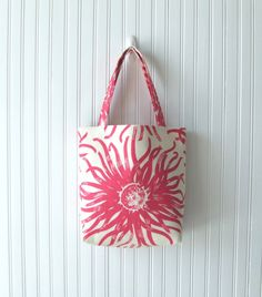 Sunburst Tote Bag In Raspberry Pink  Spring and by JannysGirl, $36.00