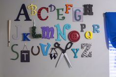 Colorful DIY wall alphabet for nursery or kid's room Abc Wall, Alphabet Wall, Letter Wall, Toy Story Bedroom, Toy Rooms, Kids Rooms, Project Nursery, Kid Spaces, Diy For Kids