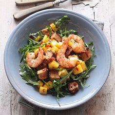 Mango-Garnelen-Brot-Salat