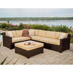 Transform any outdoor area into a contemporary lounge space using this Hanover Metropolitan Patio Sectional Seating Set with Sahara Sand Cushions. Outdoor Furniture Sets, Patio Set, Patio Heater, Patio Seating, Conversation Set Patio, Wicker Patio Sectional, Lounge Seating, Patio Sectional, Sectional Patio Furniture