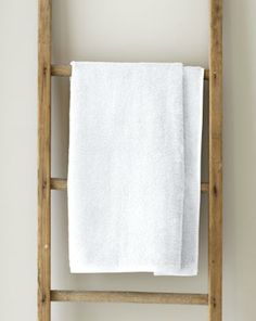 We're on an eternal quest for the perfect white towel; here are our picks for basic (and not-so-basic) essentials.: Prices listed are for standard-siz Old Wooden Ladders, Pallet Bathroom, Hanging Clothes, Apt Ideas, Decor Ideas, White Towels, Modern Bathroom Design, Towel Holder, Bath Remodel