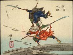 Tsukioka Yoshitoshi, The Battle at Uji Bridge, 1882 (source).