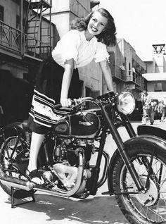 Rita Hayworth - Triumph motorcycle
