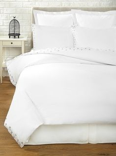 55% OFF Haute Home Embroidered Scallop Duvet Set (Gray)