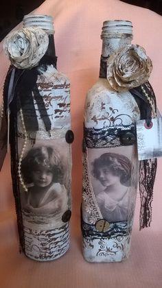 Conjunto garrafas vintage - tema: protejam a inocência de nossas crianças - Studio Irene Giglio