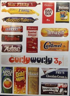 Large Steel Sign - Cadbury`s (Wrappers) 70s Sweets, Vintage Sweets, Retro Sweets, 1970s Childhood, My Childhood Memories, Sweet Memories, Chocolate Brands, Chocolate Sweets, Chocolate Cream