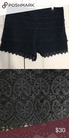 Crochet Style Loft shorts. Size 12 New but without tags. Didn't fit but never returned.  Crochet style lace shorts from loft. Navy blue. Also have an off white pair listed! Size 12 hidden side zipper Loft Fashion Shorts