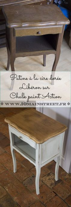 Patina with golden wax on Chalk Paint Action conclusion on the bedside Patine la cire dor e sur Chalk Paint Action conclusion sur le chevet Patina with golden wax Lib ron on Chalk Paint Action www fr White Distressed Furniture, Distressed Furniture Painting, Chalk Paint Furniture, Diy Furniture Projects, Deco Furniture, Colorful Furniture, Upcycled Furniture, Shabby Chic Furniture, Table Furniture