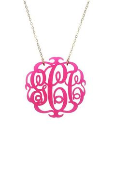 Monogrammed Acrylic Necklace...I can't decide what color I want or I would've already ordered!