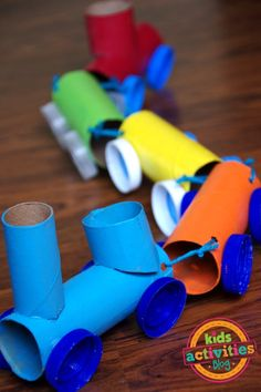 This creative toilet paper roll train craft is a kid favorite! Use TP rolls and plastic lids for this recycled craft.