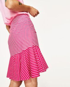 Image 6 of STRIPED MINI SKIRT WITH RUFFLE from Zara