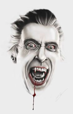 "Classic Hammer Films Art : Christopher Lee ""Dracula"" by Steve McGinnis Cool Monsters, Horror Monsters, Famous Monsters, Classic Monsters, Gothic Horror, Arte Horror, Horror Art, Beetlejuice, Hammer Horror Films"