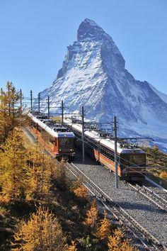 Gornergrat Railway Switerland Matterhorn (Credit: Raimund Linke/Getty) What an amazing sight! Wonderful Places, Great Places, Places To See, Beautiful Places, Zermatt, Places Around The World, Around The Worlds, Switzerland Tour, Alpine Village