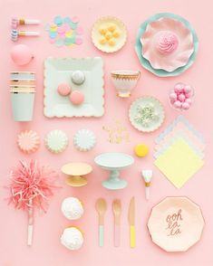 Our pink tea party inspiration! Throw a pink shower! Imagenes Color Pastel, Pastell Party, Pink Showers, Pretty Pastel, Unicorn Party, Candy Colors, Pastel Colors, Colours, Birthday Parties