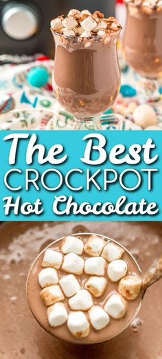 Crockpot Hot Chocolate is made with heavy cream, milk, sweetened condensed milk,. Slow Cooker Hot Chocolate Recipe, Best Hot Chocolate Recipes, Cocoa Recipes, Hot Chocolate Bars, Snack Recipes, Crockpot Hot Cocoa Recipe, Hot Chocolate With Cream, Chocolate Color, Dessert Recipes