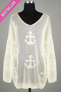 *** New Style *** Sheer Fishnet Open Knit Sweater with Scooped V Neckline Featuring Anchor Detail.