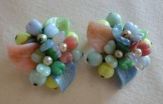 colorful pastel glass beaded earrings