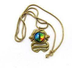 Snake Eye Pendant Necklace, Vintage Inspired Boho chic necklace , Gothic, Snake chain jewelry , Third eye jewelry