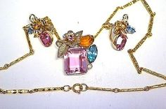 CHARMING-Coro-PINK-Clip-Earrings-Charmian-Necklace-Open-Back