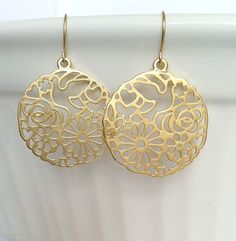 Gold Round Earrings - With Cutout Design of Dove, Butterflies, Flowers and Hearts https://www.etsy.com/listing/188740457/gold-round-earrings-with-cutout-design?ref=shop_home_active_22