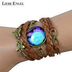 LIEBE ENGEL Multilayer Braided Bracelet Bangles Milky Way Galaxy Cabochon Infinity Charms Wristband Cuff Leather Bracelet Women