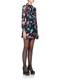 Saint Laurent - Silk Floral Tie-Neck Dress