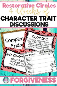 Conduct restorative circles in your classroom with these ready to use templates that are full of questions, discussion topics and ideas that can be used during circle time. This product stems around the character trait of forgiveness and includes discussi