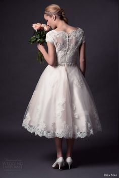 rita mae by alan hannah 2015 bridal short cap sleeve lace wedding dress tea length style 501 back view