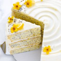 Lemon Poppyseed Cake. A tender layer cake recipe brightened with lemon juice, lemon zest and poppy seeds, frosted with a tangy sweet lemon cream cheese frosting.