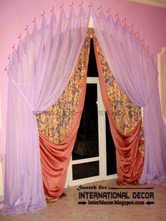 Modern pink arched curtain designs, hanged by curtain hooks
