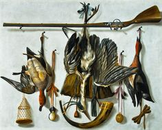 Johannes Leemans (The Hague 1633 – 1688 The Hague) - A Trompe l'Oeil Hunting…