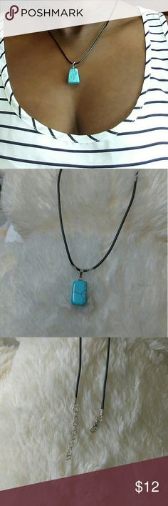 NWOT Fashion Turquoise Stone Charm Choker Necklace 🌸trendy style 🌸unisex 🌸suitable for Women, men, girl, boy, lady 🌸perfect Christians and birthday gift and yourself 🌸material: black leather string cord chain with lobster claps 🌸stone: turquoise 🌸measurement: 45cm+5cm (18in+1in)  🏵Bundle and save  🏵make an offer  🏵smoke and pet free home. Jewelry Necklaces
