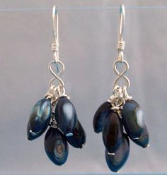 Unique Earrings For Girlfriend Gift, Blue Mother of Pearl Cluster Earrings