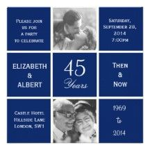 Modern Squares Sapphire 45th Wedding Anniversary Personalized Invitations