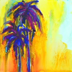 abstract paintings of palm trees | nt two blue palm trees expressionist art raw