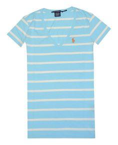 $26.99 - Ralph Lauren Sport Women Striped V-neck Pony Logo T-shirt Topaz/Cream #ralphlauren