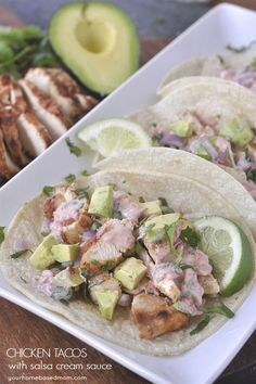 These Chicken Tacos with Salsa Cream Sauce are easy to make and full of lots of great flavor.  A perfect family meal.