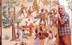 Carybé e seu quadro.,,,,,Elfi Kürten Fenske: Carybé (Hector Julio Páride Bernabó) - A arte e a paixão pela Bahia