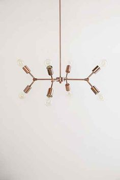 Urban Outfitters Metal Pipe Pendant - Copper One Size Home Lighting, Lighting Design, Lighting Ideas, Nursery Lighting, Be Light, Hanging Chandelier, Chandeliers, Metal Pipe, Iron Pipe